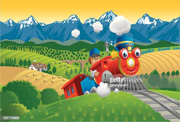 red toy train - miniature train stock illustrations, clip art, cartoons, & icons