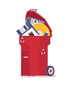 Red trash bin with old memory storages