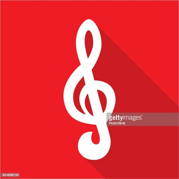 red treble clef icon - treble clef stock illustrations, clip art, cartoons, & icons