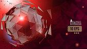 Red trianglular graphic layout BG