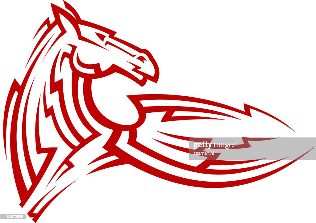 Red tribal mustang horse tattoo
