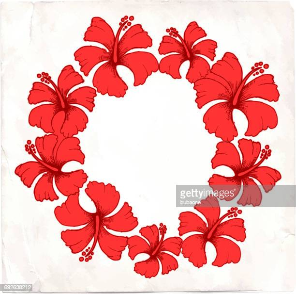 red tropical hibiscus flower vector floral frame - portulaca stock illustrations, clip art, cartoons, & icons