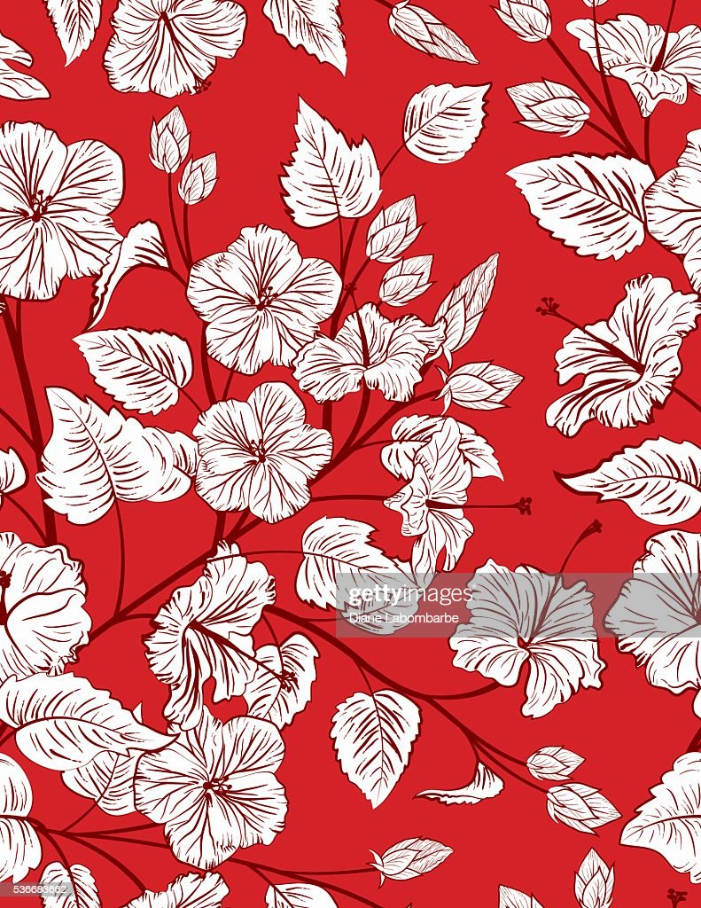 Red Tropical Hibiscus Seamless Pattern Background