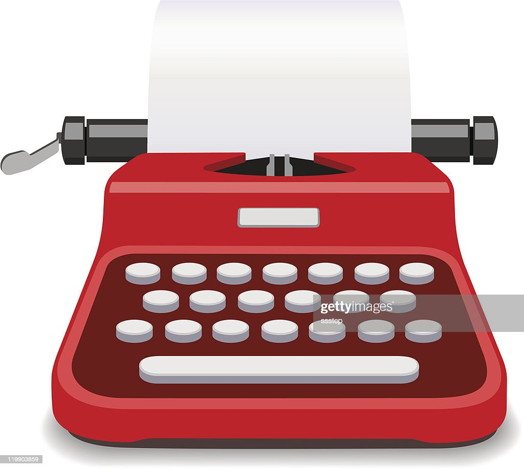 Red Typewriter Vector Illustration