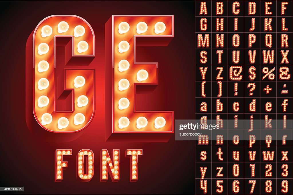 Red ultimate realistic lamp board alphabet
