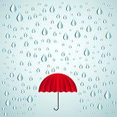 Red umbrella and paper rain drops - Vector illustration