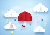 Red umbrella and rainy on clouds background. Paper art style