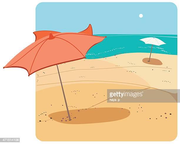 赤色傘では、南国ビーチ