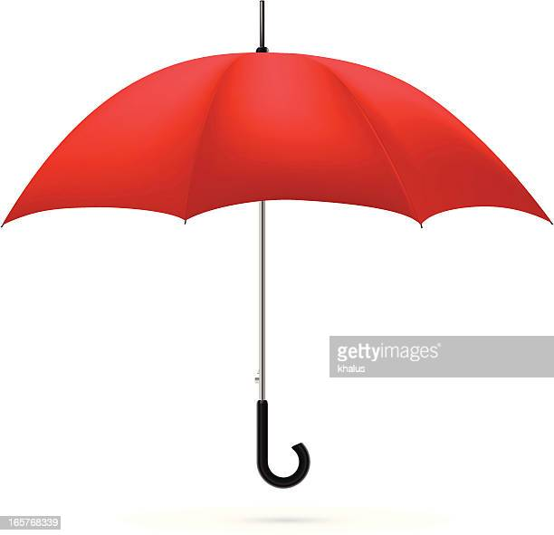 a red umbrella on a white background - umbrella stock illustrations