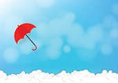 Red umbrella with blue sky. Vector illustration