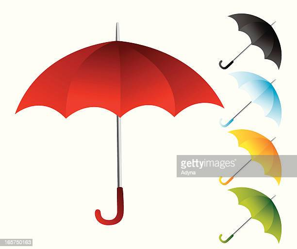 red umbrella with other colorful umbrellas - other stock illustrations, clip art, cartoons, & icons