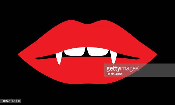 red vampire lips icon - lip gloss stock illustrations, clip art, cartoons, & icons