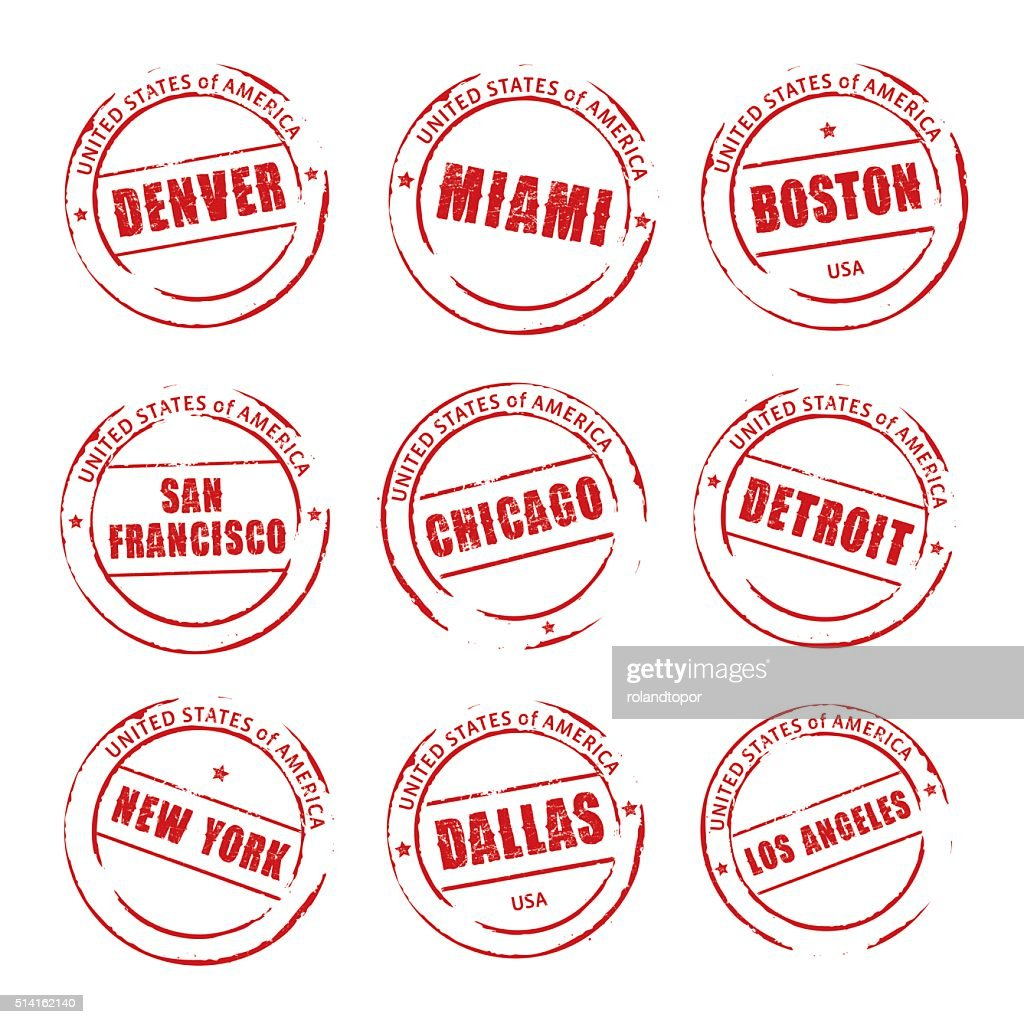 Red vector grunge stamp, American Cities Icons.