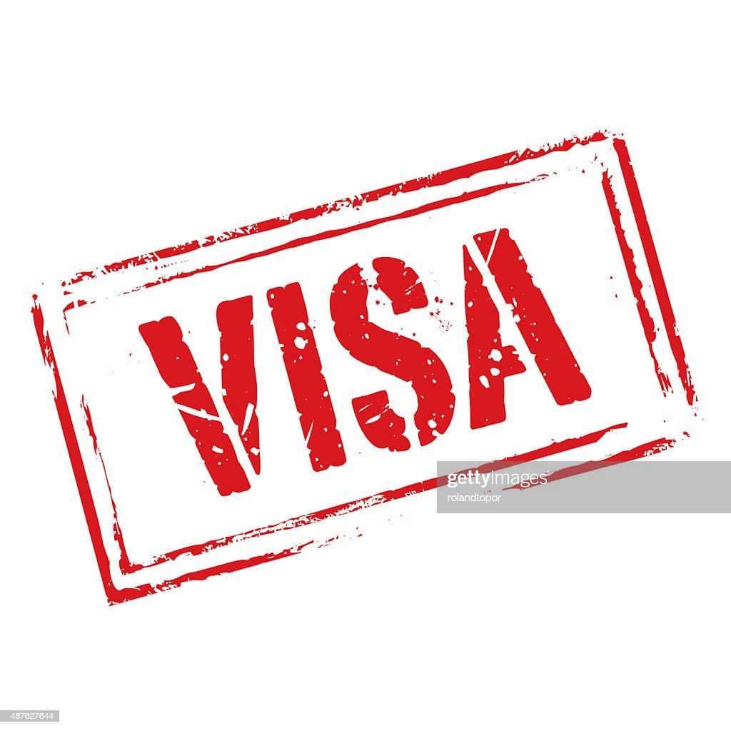 Red vector grunge stamp VISA