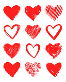 Red vector hand drawn set of different hearts.