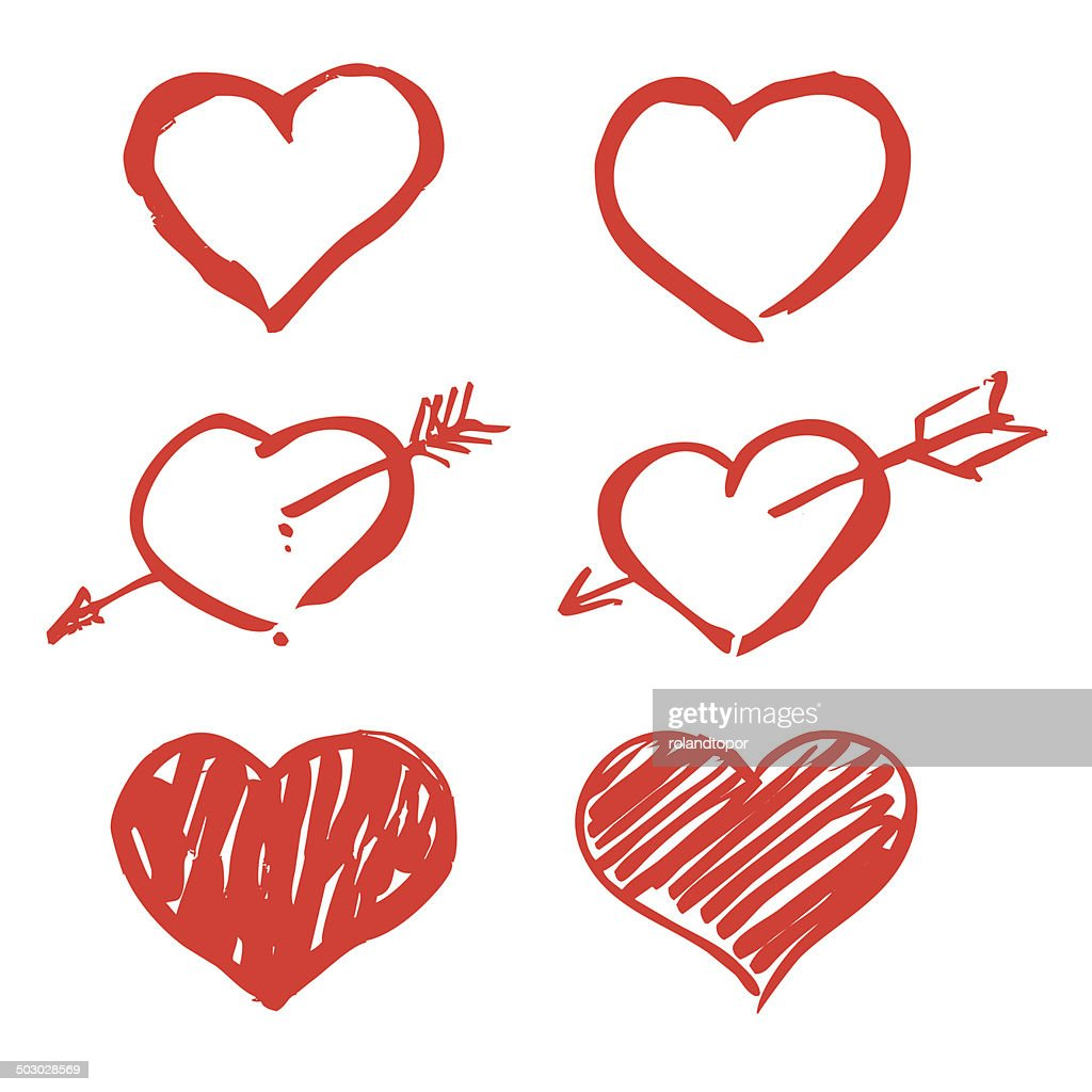 red vector hearts