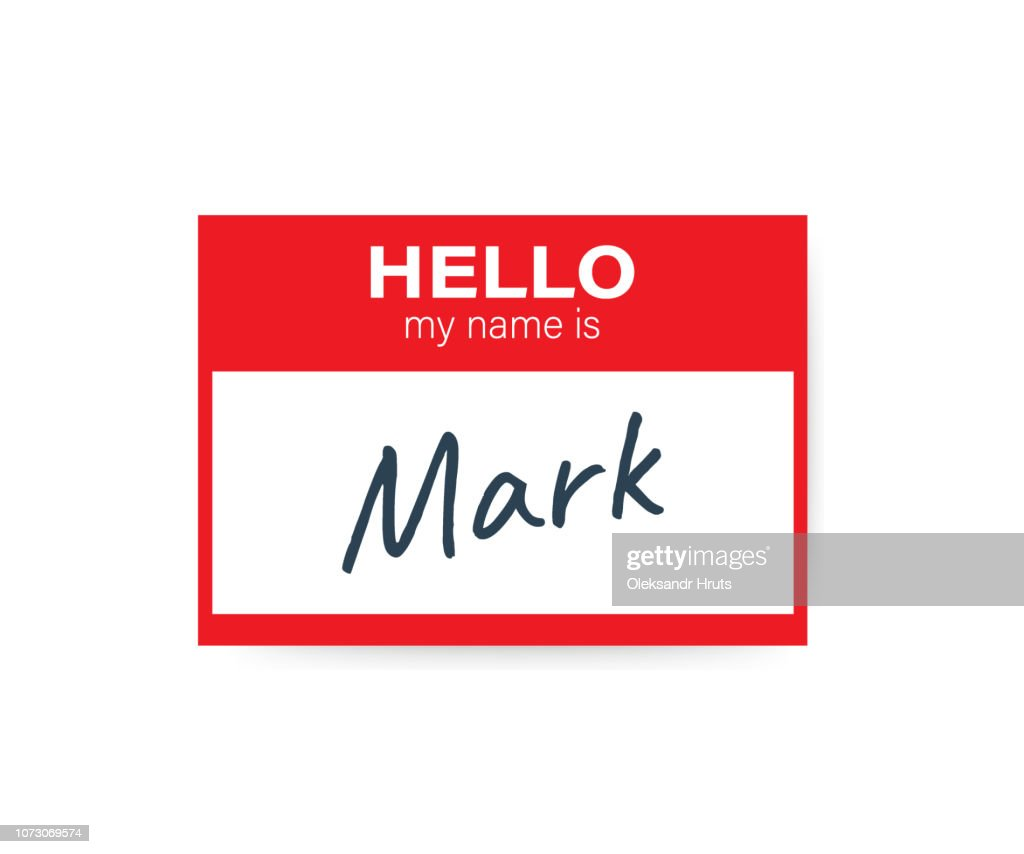 """Red vector """"Hello my name is"""" label sticker on white background. Vector illustration."""