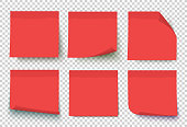Red vector post sticky notes.