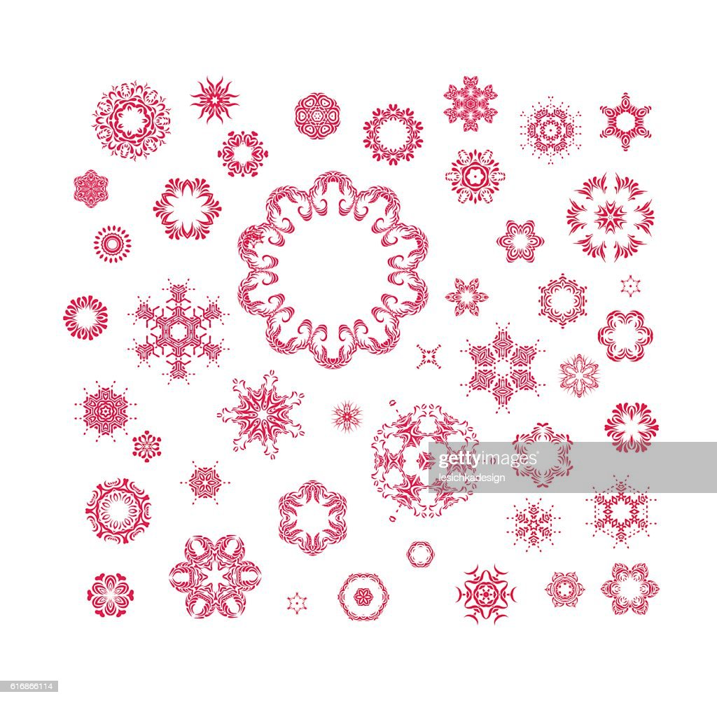 red vector snowflakes set : Vector Art