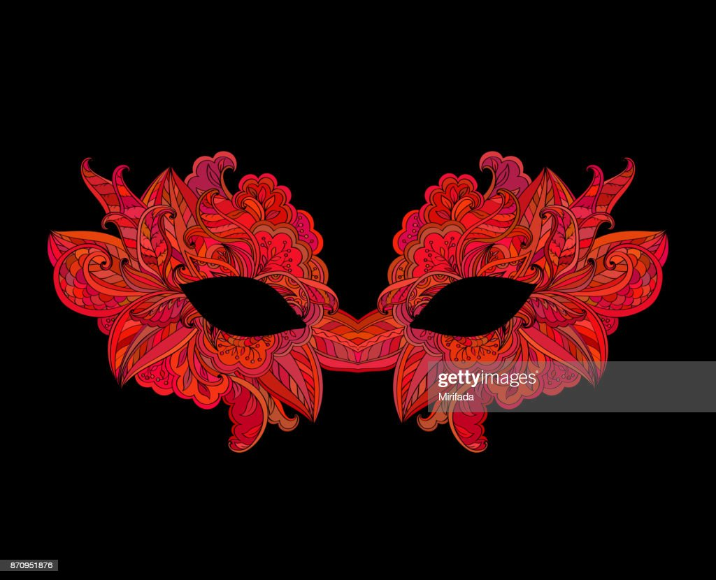 Red venetian carnival mask with flower