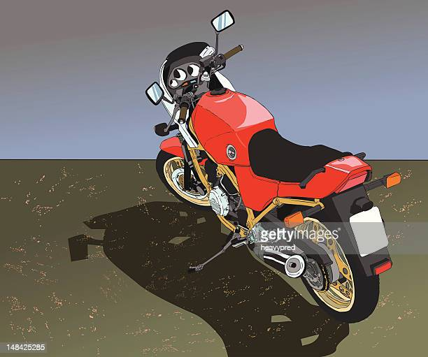 red vintage bike - turn signal stock illustrations, clip art, cartoons, & icons