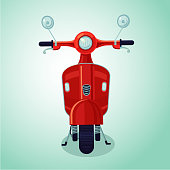 Red vintage moto scooter. Isolated cartoon illustration
