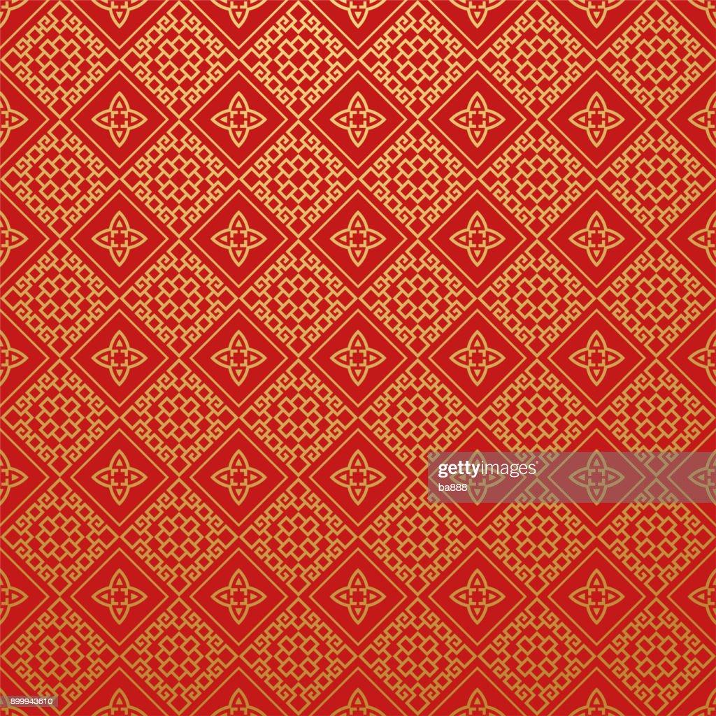 Red Wallpaper Pattern, Vector Art
