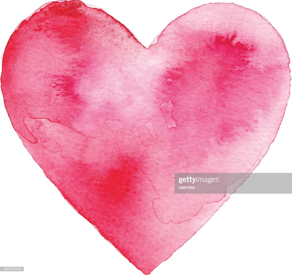 Red Watercolor Heart : Stock Illustration