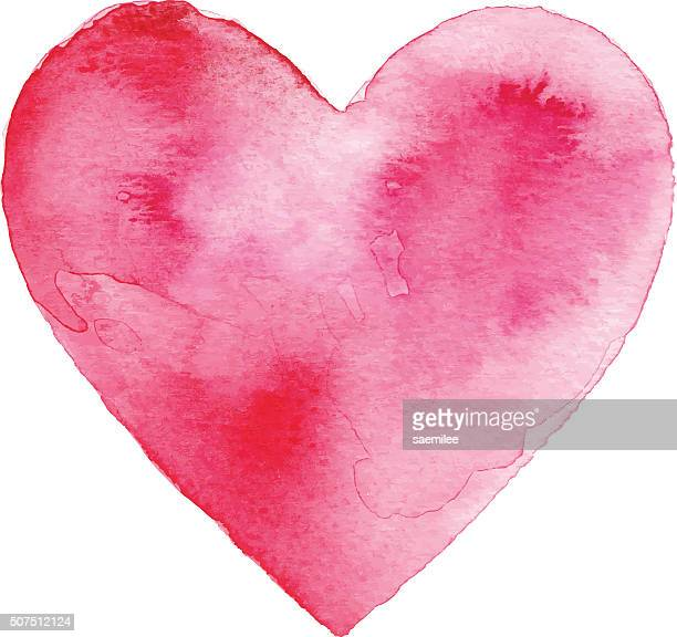 red watercolor heart - heart shape stock illustrations