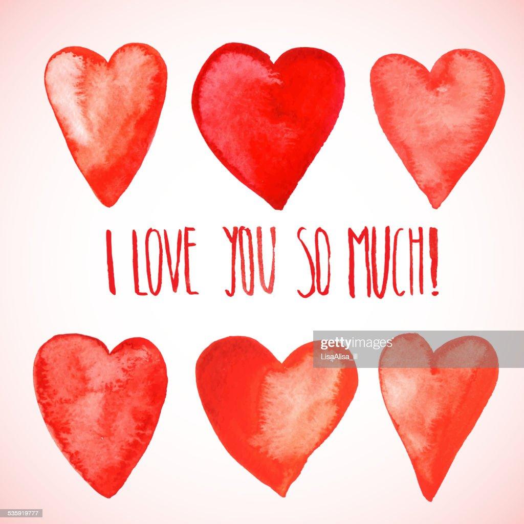 Red watercolor hearts : Vector Art