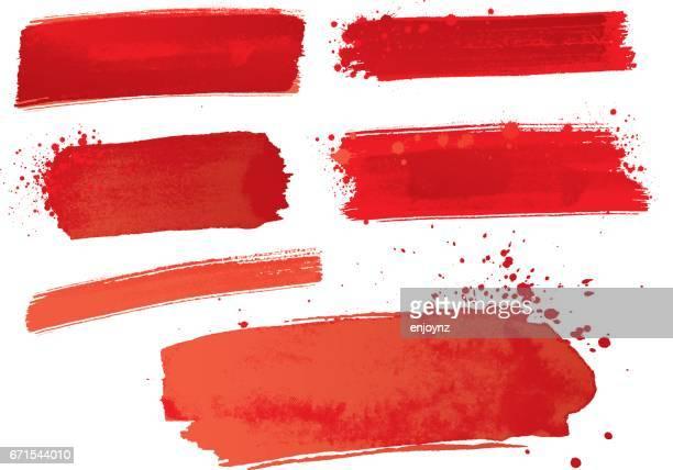 ilustraciones, imágenes clip art, dibujos animados e iconos de stock de trazos de pintura acuarela roja - rojo