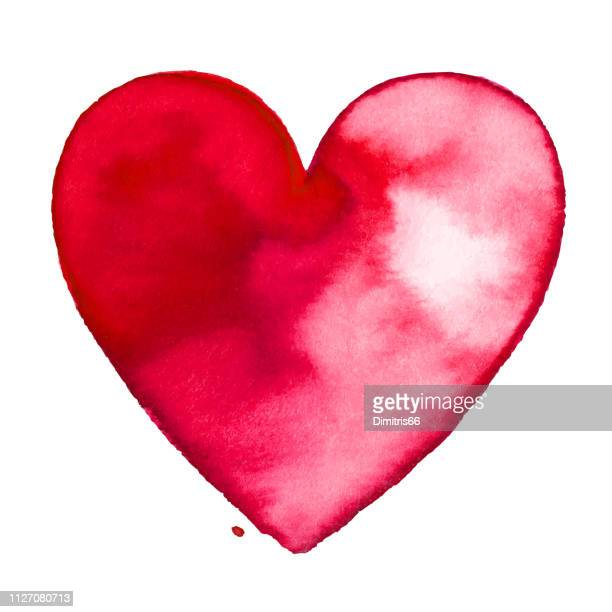 red watercolor painted heart - heart shape stock illustrations
