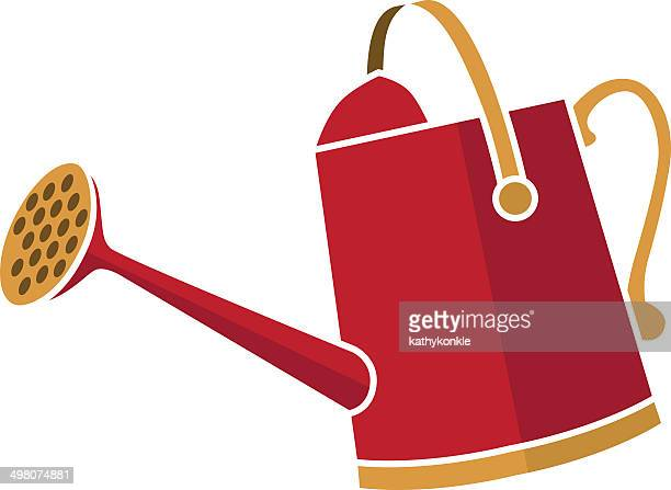 red watering can - watering can stock illustrations, clip art, cartoons, & icons