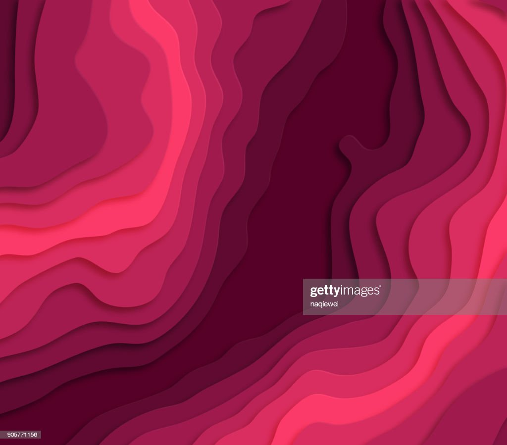 red wave gradient paper cut pattern background