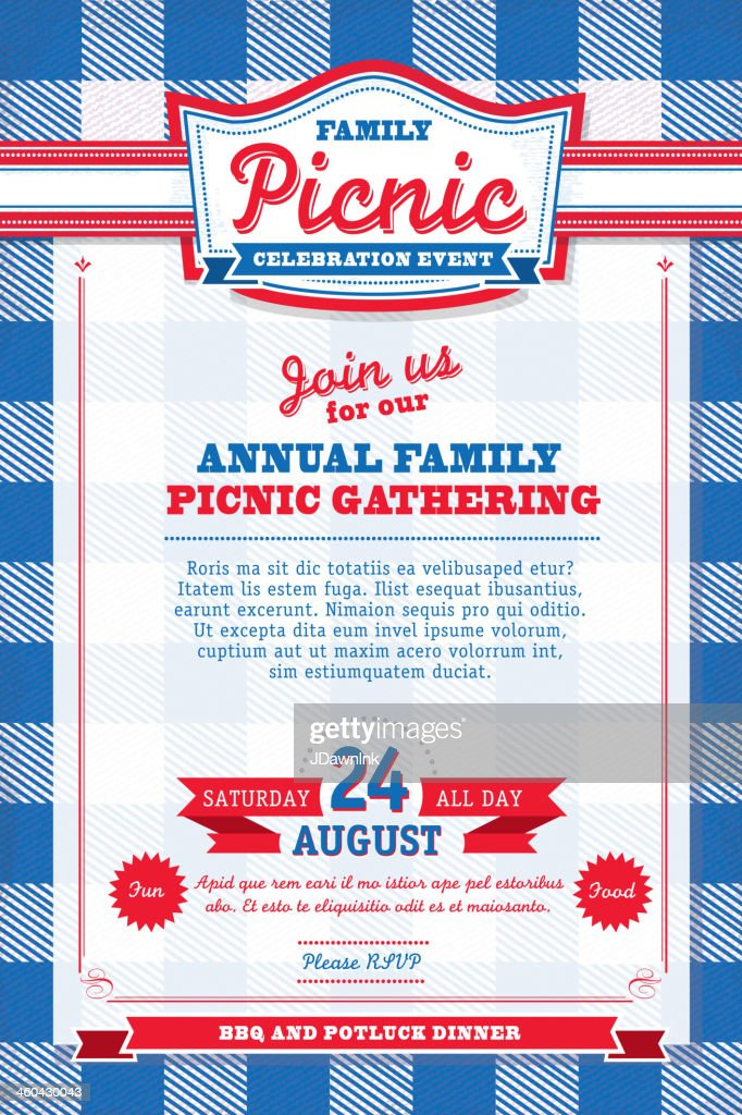 red white and blue picnic fourth of july invitation template vector