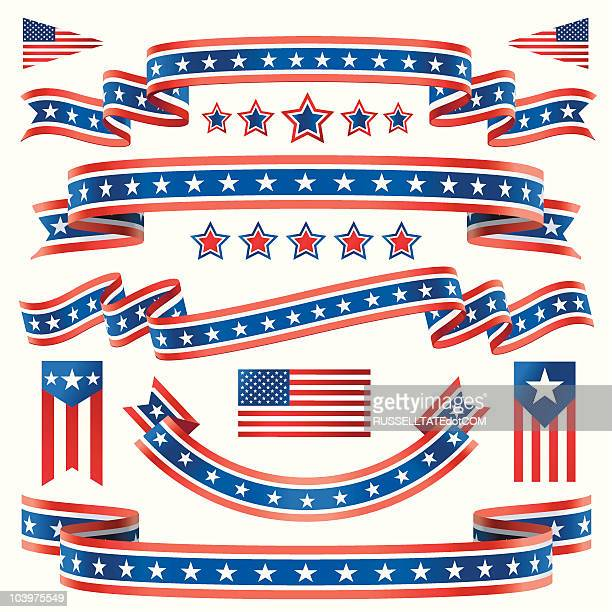 red white and blue star banners - bill of rights stock illustrations