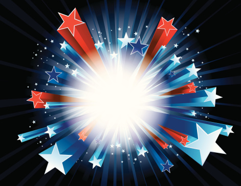 Red, white, and blue stars bursting - gettyimageskorea