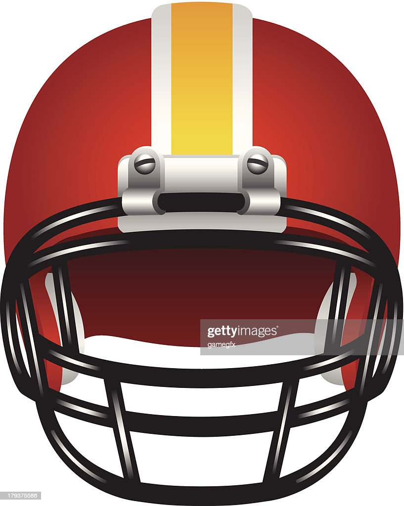 Red, white and yellow football helmet with black face guard
