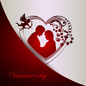 red white background with silhouette of heart with couple in love