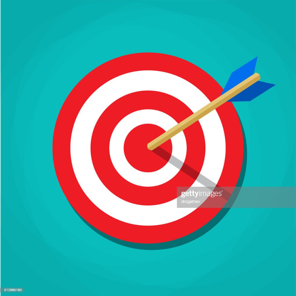 Red white circle darts target