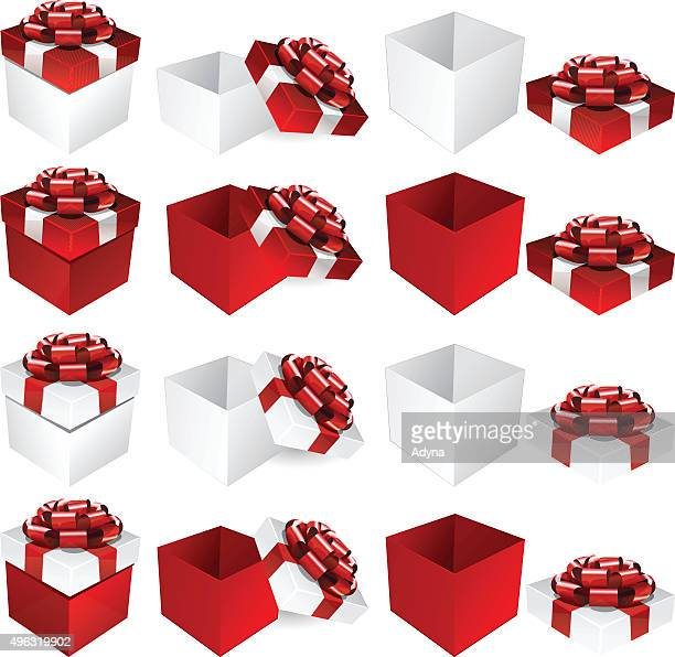 red white gift box - closed stock illustrations, clip art, cartoons, & icons