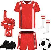 A red & white soccer uniform; top, shorts, socks, foam hand