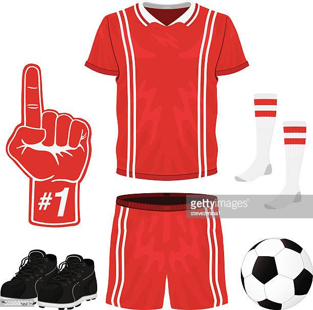 A red & white soccer uniform; top, shorts, socks, foam hand
