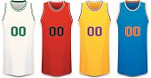 Red, White, Yellow and Blue Basketball Jersey Vector Illustration