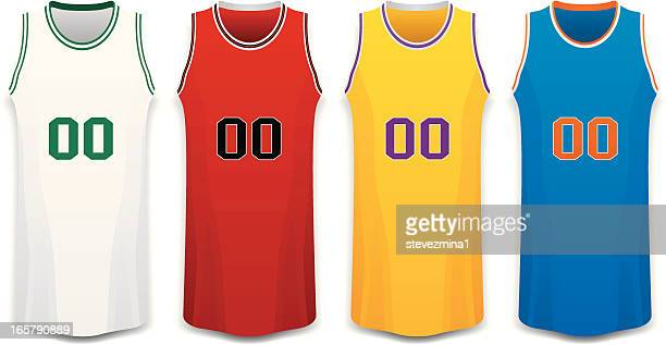 red, white, yellow and blue basketball jersey vector illustration - sports jersey stock illustrations