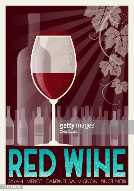 stockillustraties, clipart, cartoons en iconen met rode wijn art deco poster - bordeauxrood