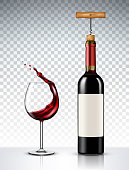 Red Wine bottle and glass on transparent background
