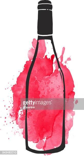 ilustraciones, imágenes clip art, dibujos animados e iconos de stock de rojo etiqueta de botella de vino diseño de letras a mano - botella de vino