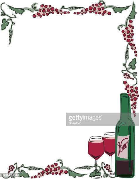 red wine frame with grapes, bottle and glasses - aquitaine stock illustrations, clip art, cartoons, & icons