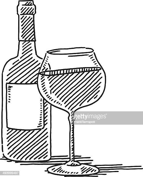 red wine glass bottle drawing - red wine stock illustrations, clip art, cartoons, & icons